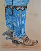 Western Usa Painting Posters - These Boots are Made for Workin Poster by Mary Rogers