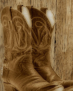 Roper Framed Prints - These Boots were Made For Framed Print by Cheryl Young