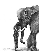 Elephant Drawings Framed Prints - They Call It A Thing of Wonder Framed Print by J Ferwerda