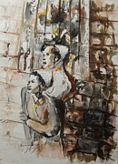 Watercolorist Painting Originals - They Were Once Yeshiva Bochers by Esther Newman-Cohen
