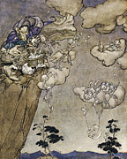 Cloak Paintings - They Were Ruled by an Old Squaw Spirit by Arthur Rackham