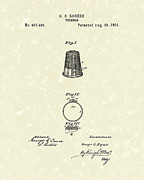 Device Drawings Framed Prints - Thimble 1891 Patent Art Framed Print by Prior Art Design
