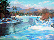 New England Snow Scene Painting Posters - Thin Ice at the Boat Ramp Poster by Gerard Natale