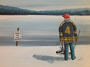 Minor Hockey Painting Framed Prints - Thin Ice -  Bobby Framed Print by Ron  Genest