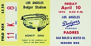 Dodger Stadium Photos - Think Blue 1970 by Benjamin Yeager