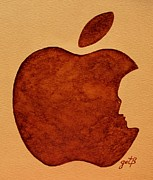 Coffee Paintings - Think Different Steve Jobs 3 by Georgeta  Blanaru