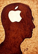 Silhouette Painting Originals - Think Different Tribute to Steve Jobs by Georgeta  Blanaru