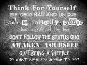 Think For Yourself - Graffiti Art Print by Absinthe Art By Michelle LeAnn Scott