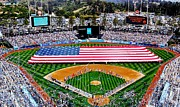 Dodger Stadium Prints - Think Red White and Blue Print by Benjamin Yeager