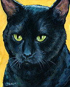 Dottie Prints - Thinking Black Cat Print by Dottie Dracos
