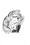 Thinking Drawings Posters - Thinking Chimpanzee Poster by Timothy OLeary