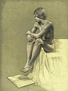Nude Girl Drawings - Thinking by Dirk Dzimirsky