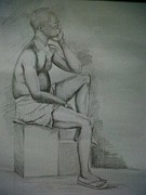 Featured Drawings - Thinking Man by Ismail Samuel