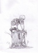 Thought Drawings - Thinking skeleton by Garrett Wright