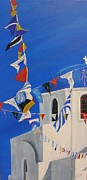 Celebration Art Print Framed Prints - Thira Flags Framed Print by Cynthia Langford
