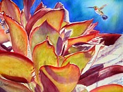 Desert Wildlife Paintings - Thirsty Bird and Cactus by Patricia Pushaw