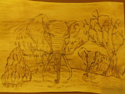 Elephant Pyrography Metal Prints - Thirsty Elephants Metal Print by JJ Oosthuizen