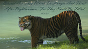 Inspirational Saying Photos - Thirsty Tiger by Sharon  Smith