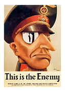Patrotic Framed Prints - This is the Enemy  Vintage ww2 Art Framed Print by Presented By American Classic Art