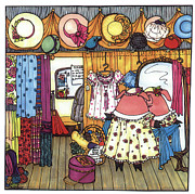 Pig Drawings - This Little Piggy Went Shopping by Sarajane Helm