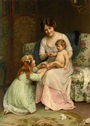 Mother And Baby Framed Prints - This Little Piggy Went to Market Framed Print by Arthur John Elsley