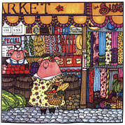Nursery Rhyme Drawings - This Little Piggy Went To Market by Sarajane Helm