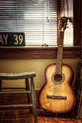 Old Farm House Posters - This Old Guitar Poster by Scott Norris