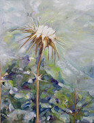 Close Up Painting Metal Prints - Thistle In Summer  Metal Print by Nurit Shany