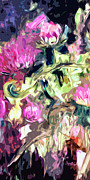 Ginette Fine Art Llc Ginette Callaway Framed Prints - Thistles Abstract Triptych #1 Floral Framed Print by Ginette Callaway
