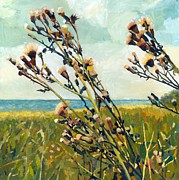 Blue Thistles Prints - Thistles on the Beach - Oil Print by Michelle Calkins