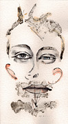 Watercolor Mixed Media Originals - Thom Yorke as Thom Yorke by Mark M  Mellon