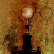 Edison Digital Art Posters - Thomas Edison Poster by Chris Bradley