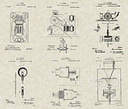 Phonograph Drawings - Thomas Edison Inventor Patent Collection by PatentsAsArt