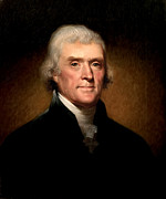 Thomas Digital Art Metal Prints - Thomas Jefferson by Rembrandt Peale Metal Print by Digital Reproductions