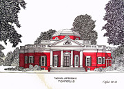 Historic Buildings Drawings Framed Prints - Thomas Jefferson Framed Print by Frederic Kohli