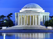 Thomas Jefferson Photo Posters - Thomas Jefferson Memorial at Night Reflected in Tidal Basin Poster by Gary Whitton