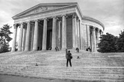 Neo-classical Posters - Thomas Jefferson Memorial In Washington D.C. BW Poster by J M L Patty