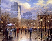 Kinkade Prints - Thomas Kinkade-boston Cities-an Evening Stroll Through The Common Print by Thomas kinkade Collector
