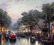 Kinkade Prints - Thomas Kinkade-carmel Cities-dolores Street And The Tuck Box Tea Room Print by Thomas kinkade Collector
