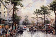 Kinkade Prints - Thomas Kinkade-carmel Cities Ocean Avenue On A Rainy Afternoon Print by Thomas kinkade Collector