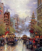 Kinkade Prints - Thomas Kinkade-cities San Francisco-a View Down California Street From Nob Hill Print by Thomas kinkade Collector