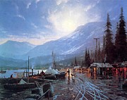 Kinkade Prints - Thomas Kinkade-dawson Cities The Yukon River With Gold Seekers Landing By Moonlight In Print by Thomas kinkade Collector