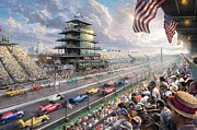 Kinkade Prints - thomas Kinkade Indy Excitement 100 Years of Racing at Indianapolis Motor Speedway Print by Thomas kinkade Collector
