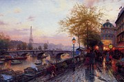 Kinkade Prints - Thomas Kinkade-paris City-eiffel Tower Print by Thomas kinkade Collector