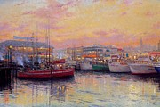 Kinkade Prints - Thomas Kinkade San Francisco Cities Fishermans Wharf Print by Thomas kinkade Collector