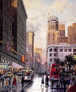 Kinkade Prints - Thomas Kinkade San Francisco Cities Late Afternoon At Union Square Print by Thomas kinkade Collector