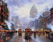 Kinkade Prints - Thomas Kinkade San Francisco Cities Market Street Print by Thomas kinkade Collector