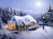 Kinkade Prints - Thomas Kinkade Silent Night  Print by Thomas kinkade Collector