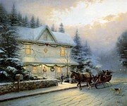 Kinkade Prints - Thomas Kinkade Xmas Bringing Home The Christmas Tree Print by Thomas kinkade Collector