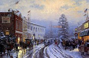 Kinkade Prints - Thomas Kinkade Xmas Christmas At The Courthouse Print by Thomas kinkade Collector